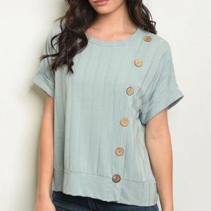 Sage green short sleeve button detail tunic top.